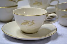 Vintage Bountiful by Knowles Cups and Saucers 14 pcs 24k Gold Wheat Pattern Fine American China Panchosporch
