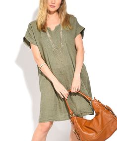 Take a look at this Green Notch Neck Linen Shift Dress - Plus Too today!