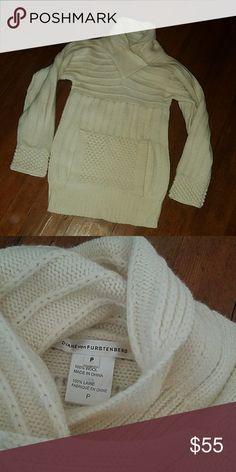 Diane von Furstenberg cream sweater Beautiful knit sweater. 100% wool. Front panel pocket. Size small. Diane von Furstenberg Sweaters