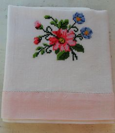Vintage white linen ##towel, tea #towel dish cloth cross #stitch embroidery pink h,  View more on the LINK: http://www.zeppy.io/product/gb/2/272276934585/