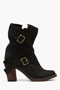France Strapped Boot in Black Suede