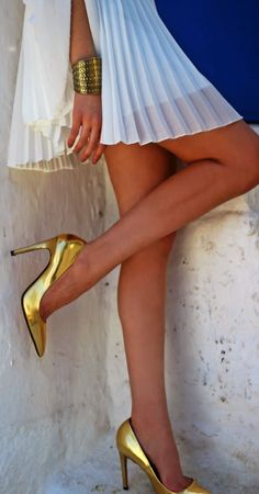 Gold Accessorize On White Chic Style