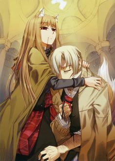 """Spice and Wolf - Isuna Hasekura - A light novel eventually made into an anime. The setting of the series is a medeval European-esque world. Craft Lawrence, a traveling merchant, while visiting a small pagan town during the harvest festaval, accidentally frees the local harvest god. This """"god"""" is a centuries old giant wolf named Holo who took on the form of a young girl. She stikes a deal with Lawrence so she can travel with him and seek out her homeland to the north. The novels focus very muc..."""