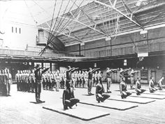TRAINING and FITNESS: West Point plyometric drills, circa 1900. The cadets in the second row jumped into a squat position.