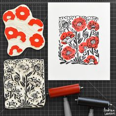 Poppies - Original Block Print Linocut by Andrea Lauren Linocut Prints, Art Prints, Block Prints, Stencil, Linoleum Block Printing, Floral Print Design, Floral Prints, Stamp Carving, Handmade Stamps