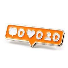 "Bye followers Silver pin with orange enamel Rubber backing Measures .5"" tall x 1.25"" wide"