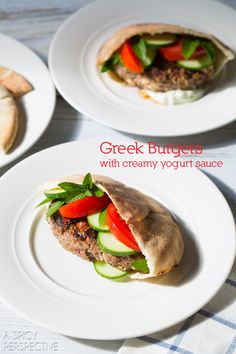 Greek Hamburger Recipe on ASpicyPerspective.com #burgers #summer #greek