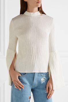 Rejina Pyo | Marta bell-sleeve pintucked crepe top | NET-A-PORTER.COM