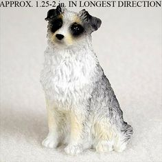 Australian Shepherd Mini Resin Hand Painted Dog Figurine Blue available at www.DogLoverStore.com