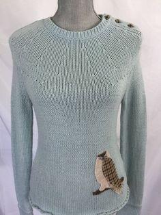 Sleeping on Snow Anthropologie Blue Owl Sweater Small S Womens #SleepingonSnow #Crewneck