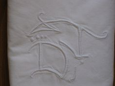 French white linen sheet monogram initials very long. $70.00, via Etsy.