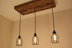 Kitchen Lighting Remodel Cage Light Chandelier with 3 Lights, Cage Lighting - Edison Bulb - Upcycled Wood Decor, Cage Light Chandelier, Kitchen Lighting Fixtures, Chandelier Lighting, Home Decor, Home Lighting, Lights, Diy Pallet Furniture, Diy Lighting