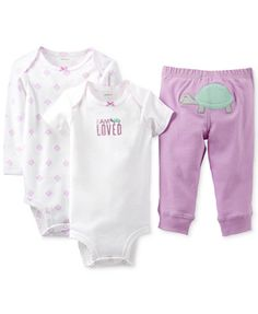 Carter's Baby Girls' 3-Piece Turtle Bodysuits & Pants Set