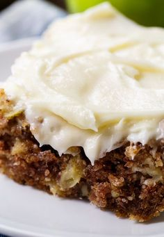 German Apple Cake has chunks of fresh apple, lots of fall spices, crunchy pecans, and a thick layer of cream cheese frosting. This is one of the most delicious apple desserts you will ever taste so ge Köstliche Desserts, Apple Desserts, Delicious Desserts, Dessert Recipes, Yummy Food, German Apple Cake, Apple Cake Recipes, Apple Cakes, Apple Sheet Cake Recipe