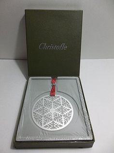 Authentic Christofle Silver Plated SNOWFLAKE Christmas Tree Ornament 2006 NIB