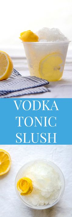 Vodka Tonic Slush - Dessert for Two Cocktails, Non Alcoholic Drinks, Cocktail Drinks, Summer Drinks, Fun Drinks, Mixed Drinks, Beverages, Gin, Vodka Tonic