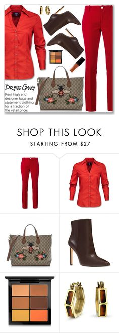 """""""Elegant Work Wear"""" by jecakns ❤ liked on Polyvore featuring Gucci, Nine West, MAC Cosmetics and Bling Jewelry"""