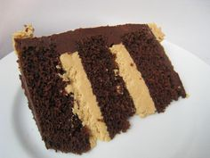 Chocolate cake with caramel buttercream filling and bittersweet chocolate ganache icing