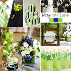 Navy and Lime Wedding Colors - Navy and Lime is a lovely, elegant combination. It lends itself to decorating using limes or green apples (as shown). This combination works especially well for a spring or summer wedding.