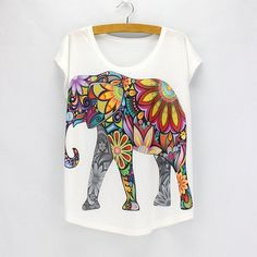 Flower Elephant Printed Women Top Allow the strength and calm demeanour of the elephant to shine in this unique, eco-friendly top. With an elephant design, this loose fitting top is an inspiration without words. Flowy, relaxed fit. Pair this elephant print shirt with bell bottoms or yoga pants for a bohemian style look! www.therealnomad.com