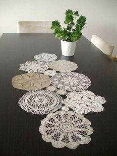 Items similar to Custom MADE Table Runner, Wedding Table Decoration With Handcrocheted Vintage Doilies on Etsy Crochet Table Runner, Table Runner Pattern, Quilted Table Runners, Doilies Crafts, Lace Doilies, Crafts To Do, Diy Crafts, Doily Art, Creation Deco