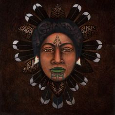The Face of Matariki by Victor Lee Te Paa, Māori artist Maori Tattoo Designs, Maori Tattoos, Polynesian Art, New Zealand Art, Nz Art, Maori Art, Kiwiana, Indigenous Art, Tattoos Gallery