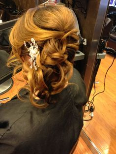 Red carpet hair , Pretty Bride hair to the side soft romantic bride or prom style elegant curls classy hairstyles by Joanne at Bangz salon bellmore Ny