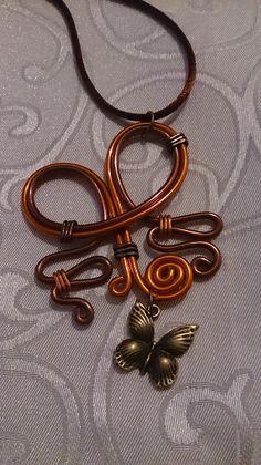 Collier N°33, bijoux fantaisie en fil aluminium marron et orange : Collier par mandy-fantaisie