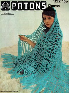 PDF Vintage Womens Ladies Crochet Pattern Shawl Cobweb Gypsy