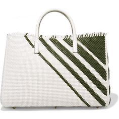 Anya Hindmarch Ebury Maxi striped woven leather tote ($3,950) ❤ liked on Polyvore featuring bags, handbags, tote bags, green, handbags totes, leather laptop tote, white leather tote, leather tote and genuine leather tote