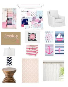 Virtual Interior Design Help E Decorating Services Inspiration Board for Hot Pink and Navy Chevron Nursery for Baby Girl on Etsy, $150.00