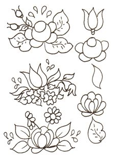 pattern for Bauernmalerei Mexican Embroidery, Hungarian Embroidery, Simple Embroidery, Embroidery Patterns, Painting Templates, Painting Patterns, Folk Art Flowers, Flower Art, Tole Painting