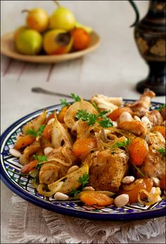Chicken, Apricots and Honeyed-Pear Tagine  #moroccan #chicken #onion #nutmeg #ginger #allspice #cinnamon #turmeric #apricots #pears #stock #honey #butter #almonds #parsley #oliveoil #glutenfree