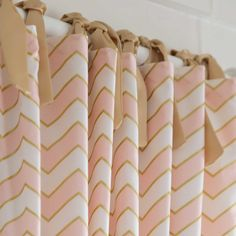Drapery Panel in Pale Pink and Gold Chevron by Carousel Designs.%categories%nursery room
