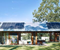 The exterior of the house features untreated ironbark weatherboards set beneath a Zincalume roof topped with a photovoltaic system, which powers the entire off-the-grid property. Design Your Home, House Design, Solar Pannels, Roof Cladding, Forest Cottage, Steel Barns, Shed Homes, Sustainable Design, Modern Farmhouse