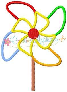 Pinwheel máquina bordado apliques diseño 4 tamaños
