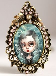 Image of Lightning and Pearls - original cameo by Mab Graves