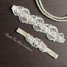 Sale Ivory Lace Garter Wedding Garter Set by MadeForHerCouture