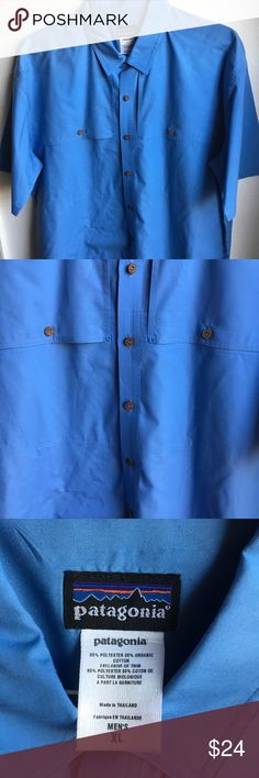 "Patagonia Mens X-Large Vented Shirt Patagonia Mens X-Large Vented Fishing Short Sleeve Blue Button Down Shirt Pit to pit 25"" Length 31"" Organic cotton blend Great condition a couple tiny white spots on back from laundry product Patagonia Shirts Casual Button Down Shirts"