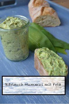 Leckerer Bärlauch Hummus Dip mit Feta Käse. Einfach und Schnell, gut zu Rohkost, Brot oder zum Grillen.