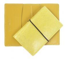 gelbes Visitenkartenmäppchen aus Leder in Vintage lemon und Gummiband,  Ideal für jede Karte