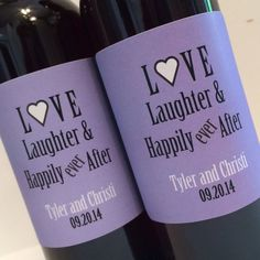 Custom Mini Wine Bottle Labels - for Wedding Favor or Bridal Shower Favor- Love Laughter