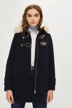 Hooded Faux Fur Trim Coat - Topshop