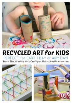 Recycled Art Projects for Kids from The Weekly Kids Co-Op - #kids #kidsart #earthday #kbn #binspiredmama