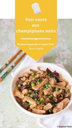 #terrevivante #porcsauté #champignonsnoirs #dietetiquechinoise Japchae, Bio, Ethnic Recipes, Eat Healthy, Dish