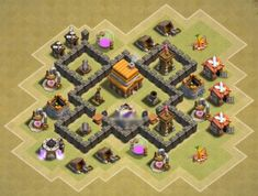 Best Town Hall 4 War, Farming and Hybrid Bases Anti Giants These base designs can defend giants archer and barbarians with ease. Town Hall 4, I Wallpaper, Base, Cool Art Drawings, Games