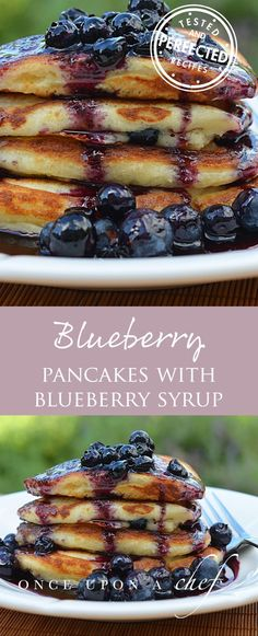 Blueberry Buttermilk Pancakes These fluffy buttermilk pancakes are jam-packed with fresh blueberries and topped with homemade blueberry syrup. - Blueberry Buttermilk Pancakes with Blueberry Maple Syrup Buttermilk Pancakes Fluffy, Blueberry Pancakes, Pancakes And Waffles, Blueberry Breakfast, Pancakes Easy, Blueberry Syrup, Blueberry Recipes, Recipes With Blueberries, Pancake Healthy