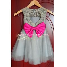 Grey Lace Flower Girl Dress Pink Sash White by AnnaCustomDress, $69.00