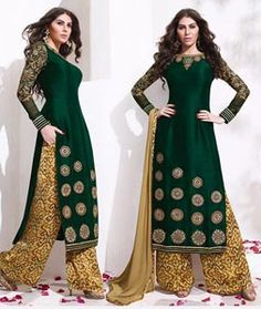 Buy Green Raw Silk Palazzo Style Suit 78042 online at lowest price from huge collection of salwar kameez at Indianclothstore.com.