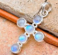 """ETHEREAL 3+ CTW RAINBOW MOONSTONE CROSS SET IN SOLID 925 SS! 1 &5/8"""" LONG~Sale on Heirloom item!"""